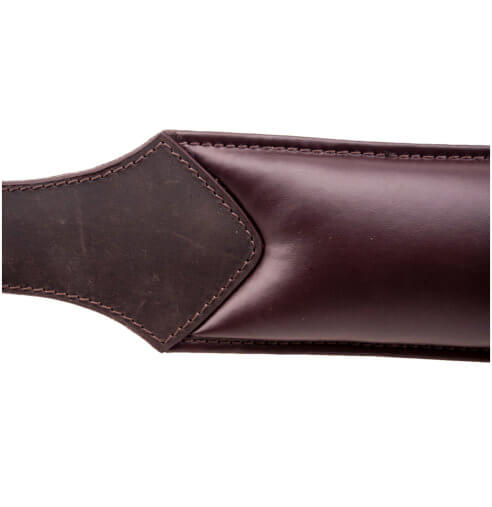 Close up of the padded side of the Bound Nubuck padded leather spanking paddle