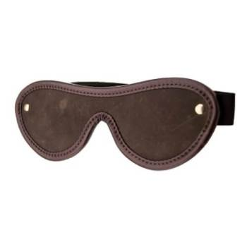 Bound Nubuck Leather Blindfold with elastic strap