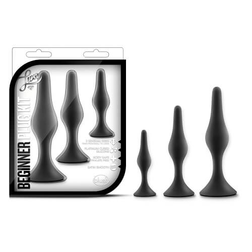 Luxe Silicone beginners butt plug kit with three tapered butt plugs in their packaging