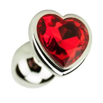 Close up view of the red heartshaped gemstone set in the base of the Precious Metals Gold Heart Butt Plug
