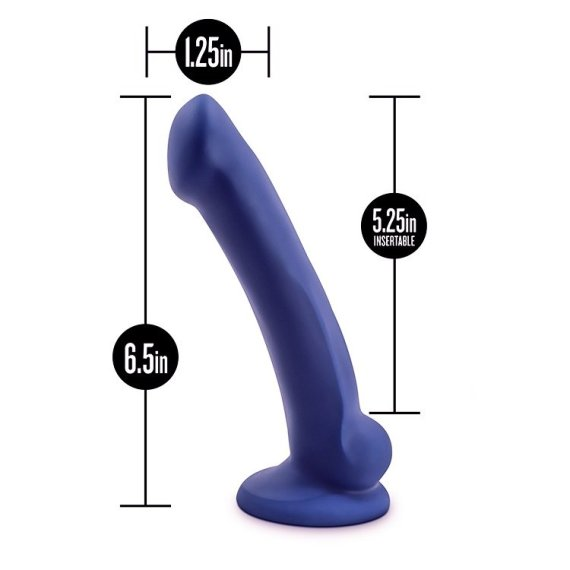 Avant Ergo Dual Density Silicone Dildo with measurement indicators showing its 6.5 inch length, 1.25 inch width and 5.25 inch insertible length