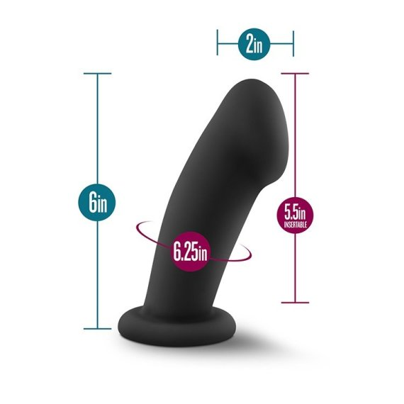 Temptasia Elvira silicone dildo with measurements indicating its 6 inch height, 2 inch width, 5.5 inch insertable length and 6.25 inch circumference