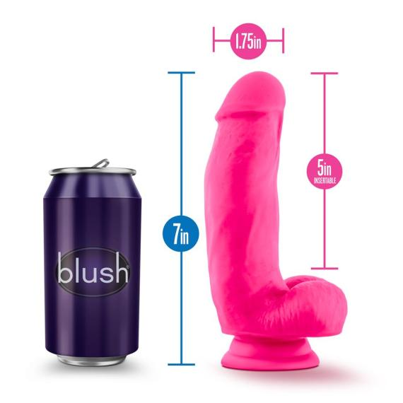 Blush Neo Elite 7 Inch silicone dildo next to a soft drink can. The image includes size lines showing 7 inches lenth, 1.75 inch girth and 5 inches insertable length