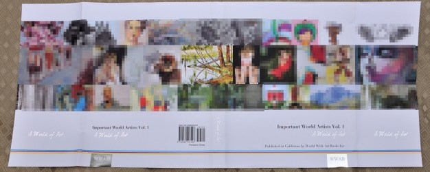 Jacket cover. My image is located in the center row, 4th from the left. The hard bound book also includes the images. The flaps do not appear on the inside cover.