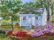 Pensioner's Cottage in the Spring. Oil on Ampersand Art Supply gessobord 9x12 $350. — at Navy Yard Par