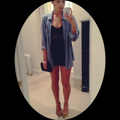 Chambray with black romper, leopard pumps, and velvet clutch for night out.