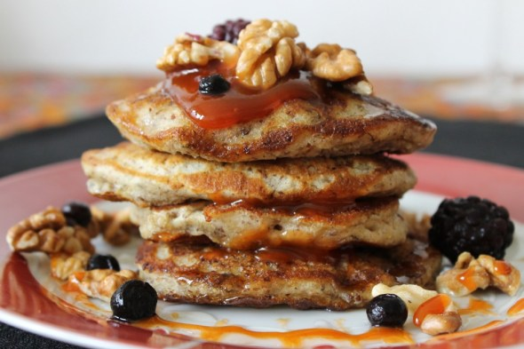 vegan pancakes with walnuts and hibiscus jam