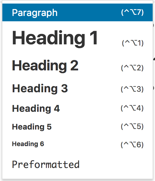How heading tags look when displayed in a visual menu
