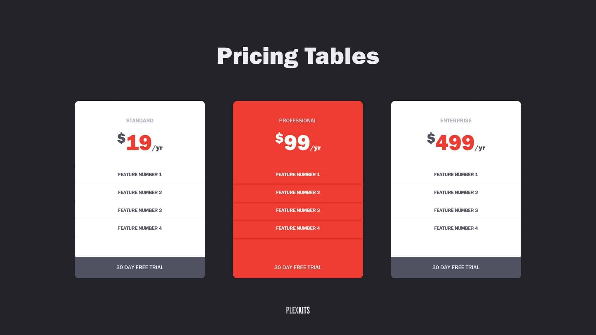 Free PowerPoint Pricing Table Slide Templates 2018