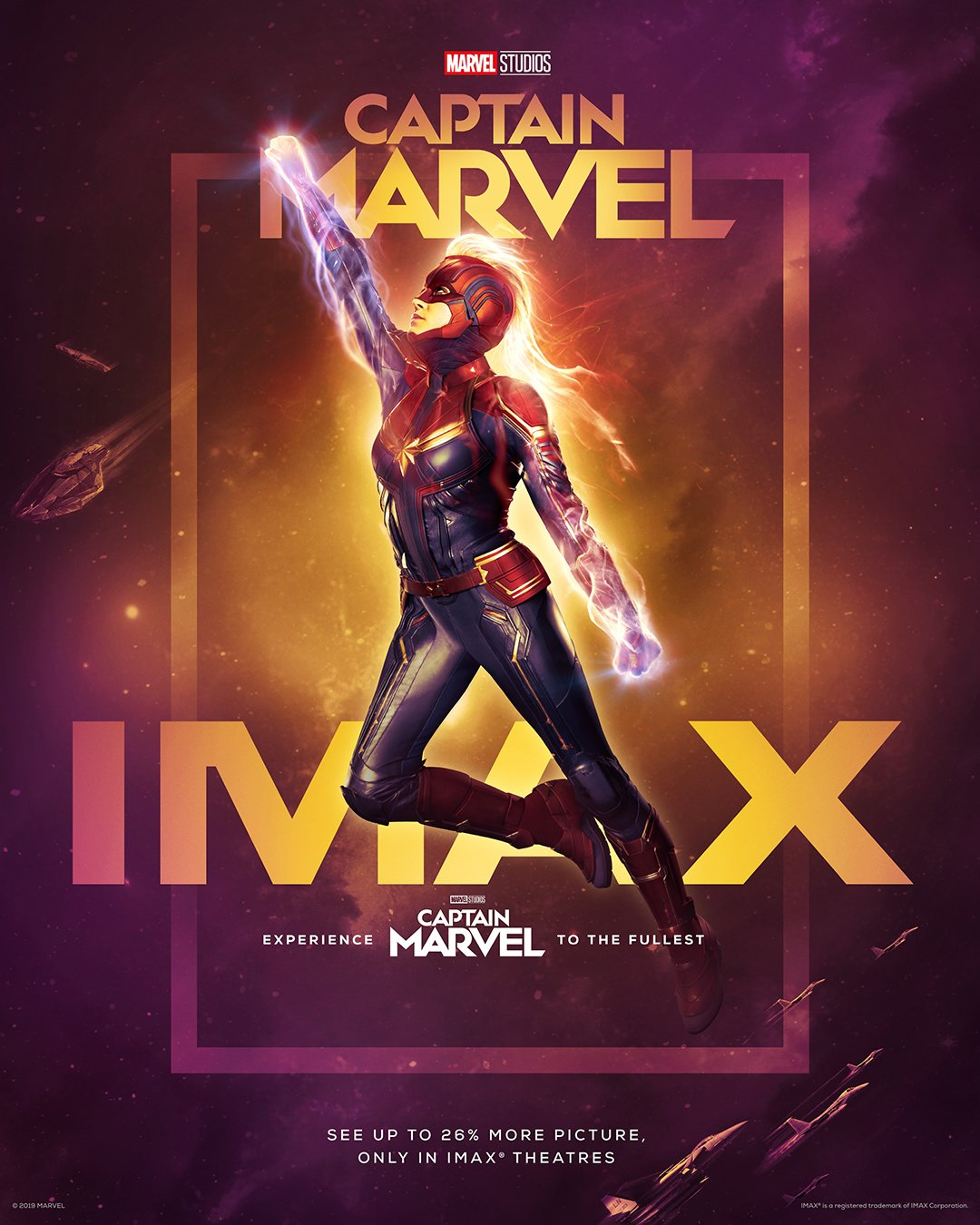 Póster IMAX de Captain Marvel (2019). Imagen: IMAX Twitter (@IMAX).