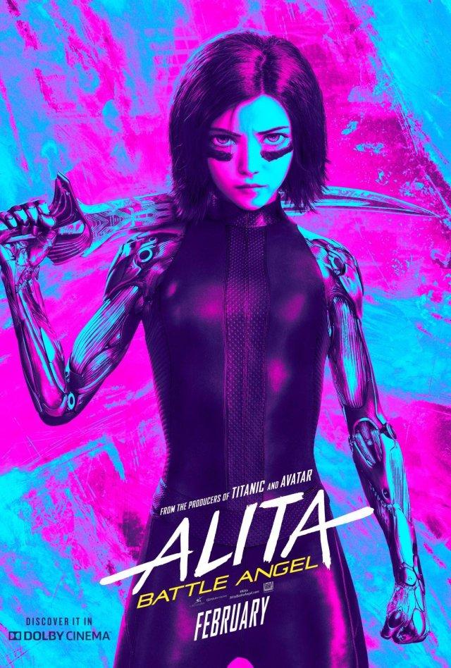 Póster Dolby de Alita: Battle Angel (2019). Imagen: Dolby Cinema Twitter (@DolbyCinema).