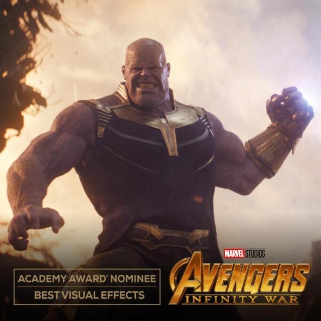 Thanos (Josh Brolin) en Avengers: Infinity War (2018), nominada por Mejores Efectos Visuales. Imagen: Marvel.com