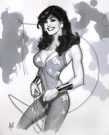 Sketch de Wonder Girl/Donna Troy por Adam Hughes. Imagen: comicartcommunity.com