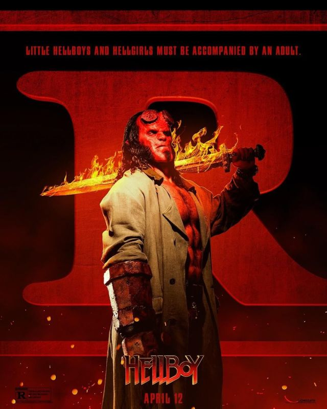 """Póster clasificación """"R"""" de Hellboy (2019). Imagen: Imagen: Hellboy Twitter (@HellboyMovie)."""