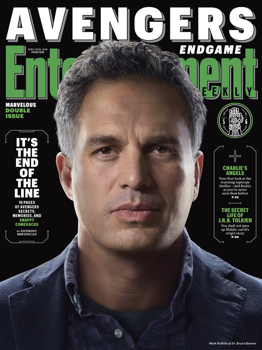 El Dr. Bruce Banner (Mark Ruffalo) en Entertainment Weekly #1558-1559 (19-26 de abril de 2019). Imagen: Marvel Studios Twitter (@MarvelStudios).