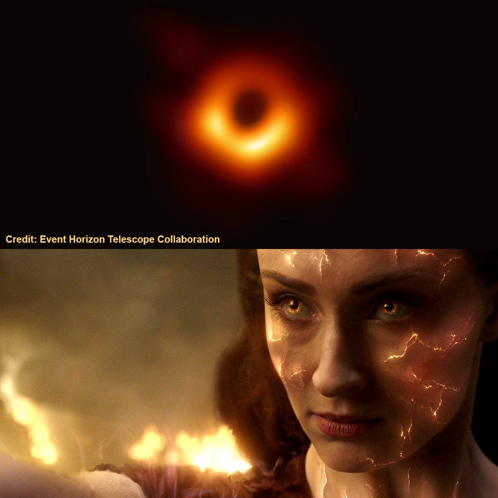 La fotografía de un hoyo negro tomada por el telescopio Event Horizon y Jean Grey (Sophie Turner) en la promoción de Dark Phoenix (2019). Imagen: X-Men Movies Twitter (@XMenMovies).