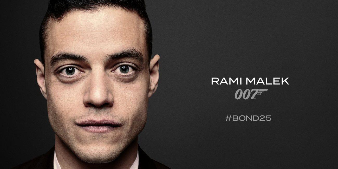 Rami Malek tiene un rol no revelado en Bond 25 (2020). Imagen: James Bond Twitter (@007).