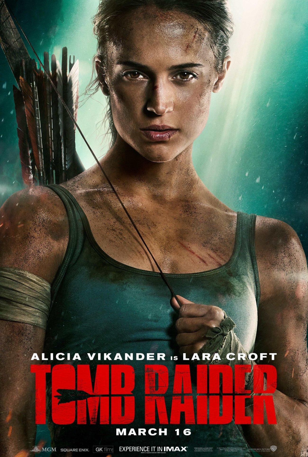 Póster IMAX de Tomb Raider (2018). Imagen: Tomb Raider Twitter (@TombRaiderMovie).