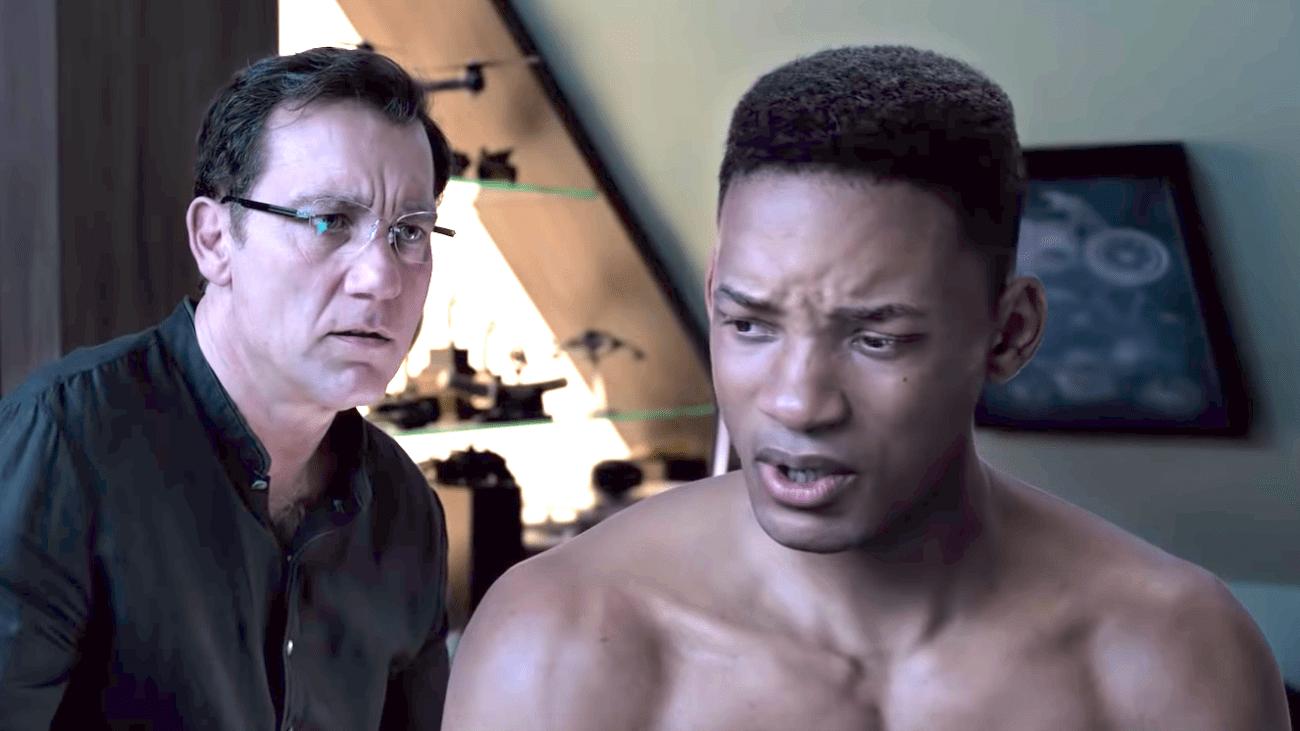 Clive Owen y el rejuvenecido digitalmente Will Smith en Gemini Man (2019). Imagen: The Movie My Life