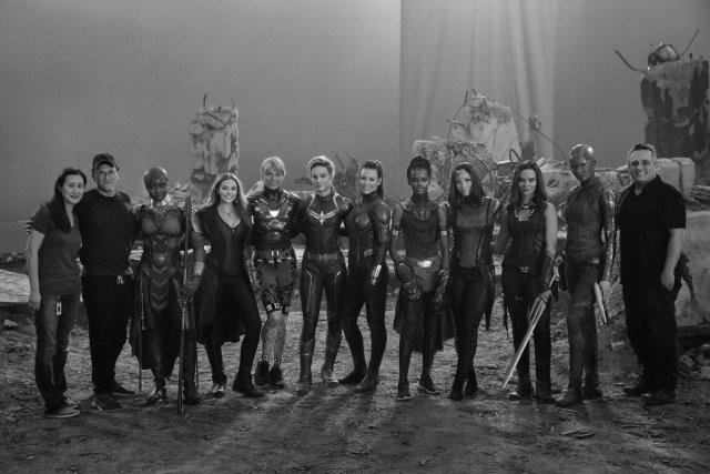 Una versión de A-Force en el set de Avengers: Endgame (2019). Imagen: Marvel Studios Twitter (@MarvelStudios).