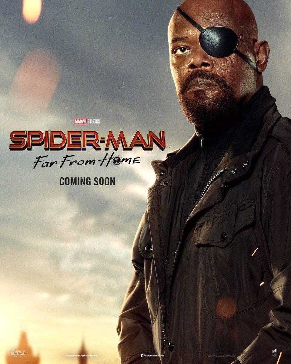 Nick Fury (Samuel L. Jackson) en un póster de Spider-Man: Far From Home (2019). Imagen: ComicBook.com