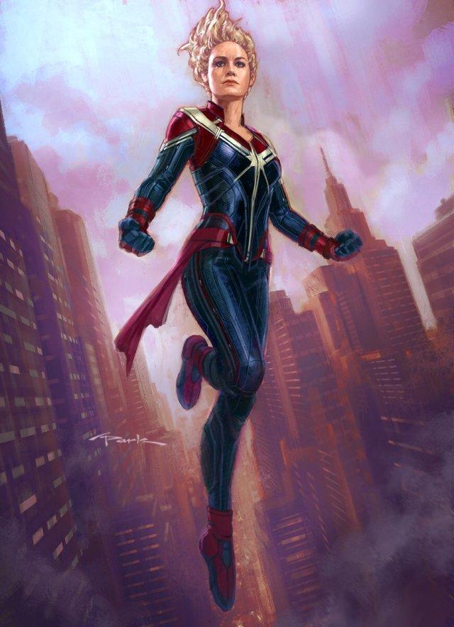 Captain Marvel (Brie Larson) en arte conceptual por Andy Park. Imagen: Andy Park Twitter (@andyparkart).