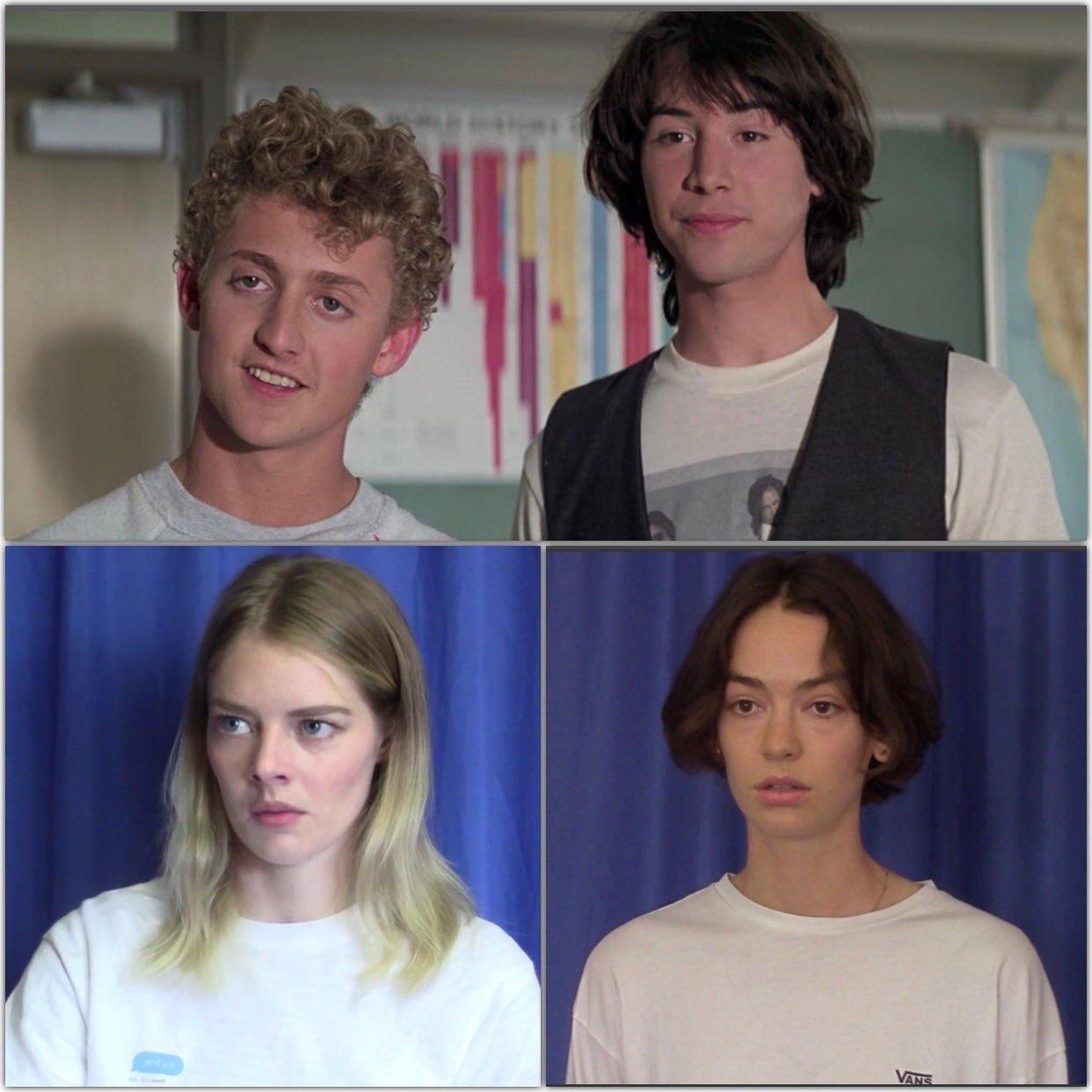 Las actrices que serán las hijas de Bill (Alex Winter) y Ted (Keanu Reeves) en Bill & Ted Face the Music (2020). Imagen: Bill & Ted 3 Twitter (@BillandTed3).