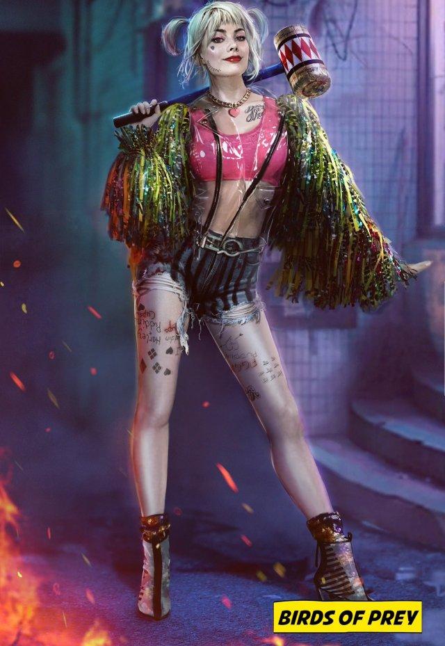 Arte conceptual de Harley Quinn (Margot Robbie) en Birds of Prey (2020). Imagen: DC Films United Twitter (@DCFUnited).