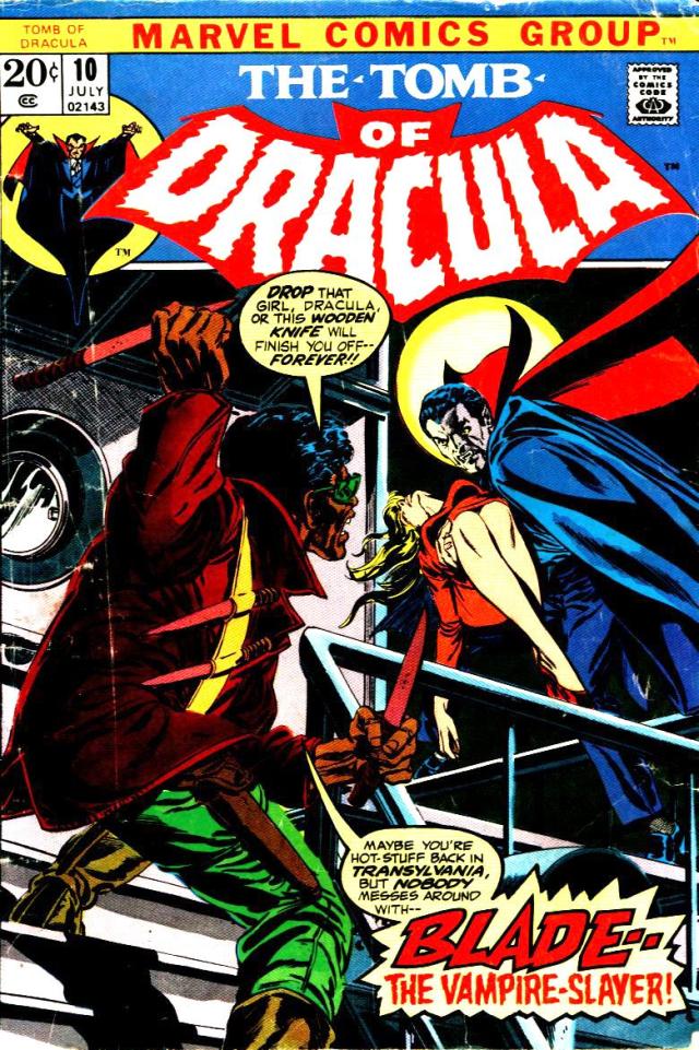 Portada de The Tomb of Dracula #10 (julio de 1973), la primera aparición de Blade. Imagen: Bloody Disgusting