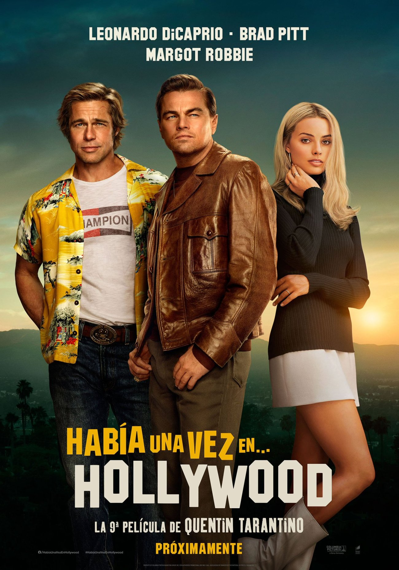 Póster en español de Once Upon a Time in Hollywood (2019). Imagen: SonyPicturesMX Twitter (@SonyPicturesMX).