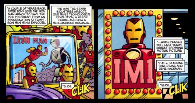La película I.M.-1 en Ultimate Marvel Team-Up #4 (julio de 2001). Imagen: readcomiconline.to