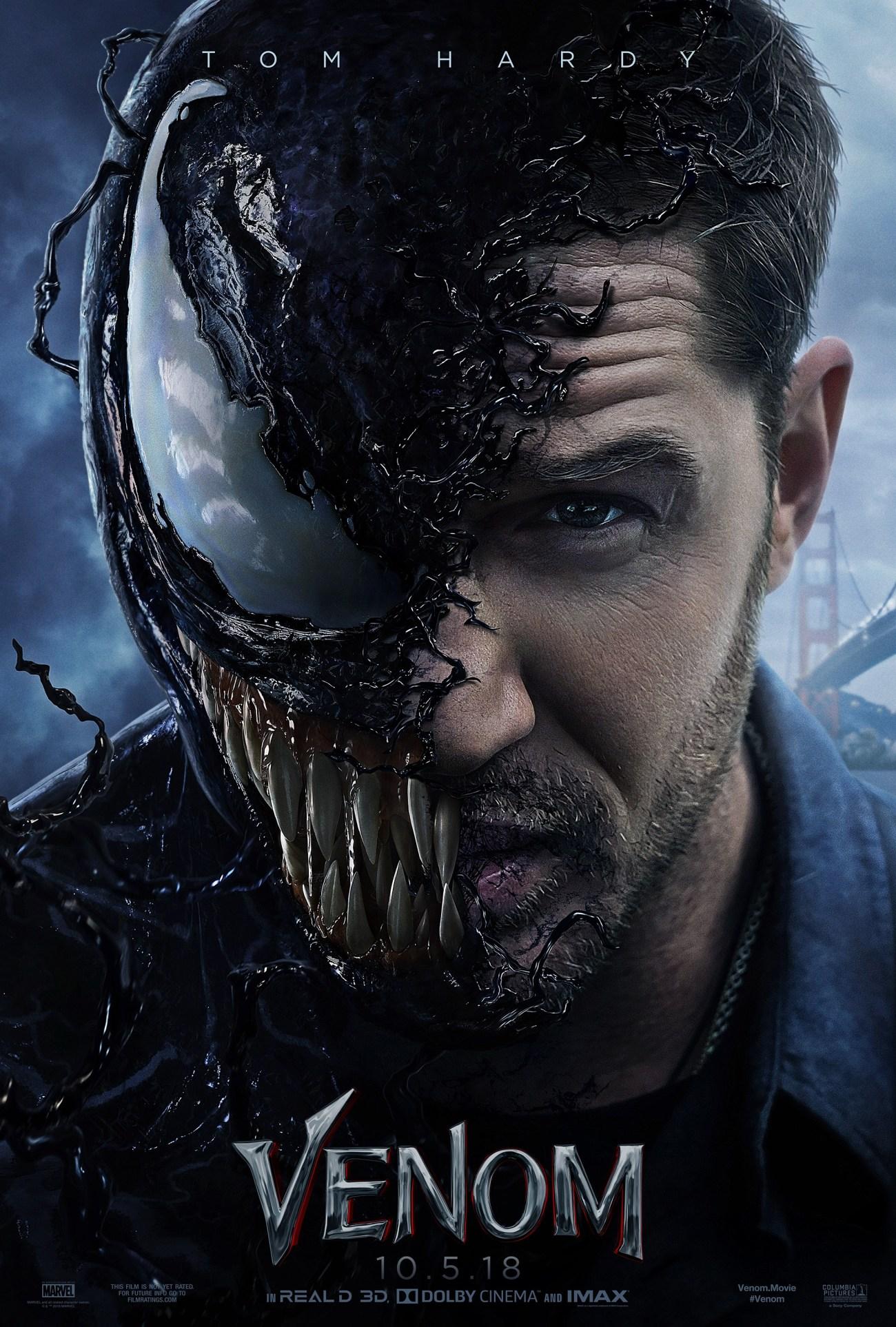 Tom Hardy como Eddie Brock/Venom en un póster de Venom (2018). Imagen: impawards.com