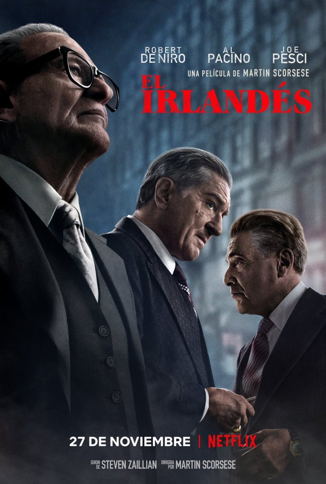 Póster de The Irishman (2019). Imagen: Netflix Latinoamérica Twitter (@NetflixLAT).