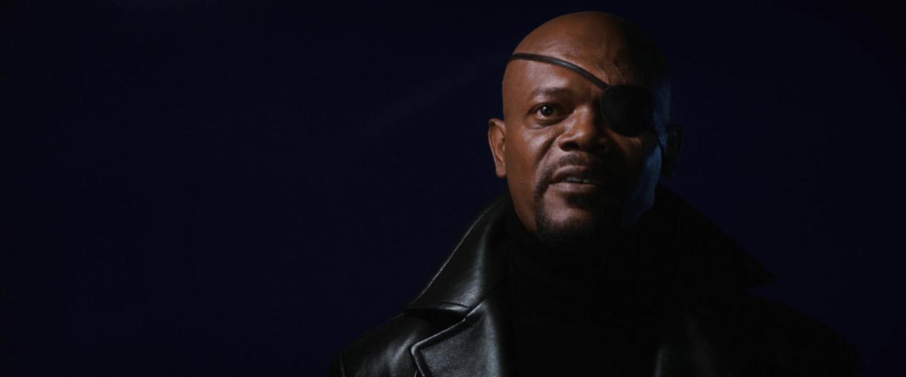 Nick Fury (Samuel L. Jackson) en Iron Man (2008). Imagen: marvelcinematicuniverse.fandom.com