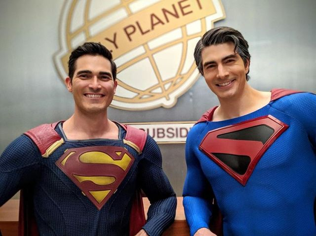 Tyler Hoechlin como Superman (Earth-38) y Brandon Routh como Superman (Kingdom Come) en el set de Crisis on Infinite Earths. Imagen: Brandon Routh Instagram (@brandonjrouth).