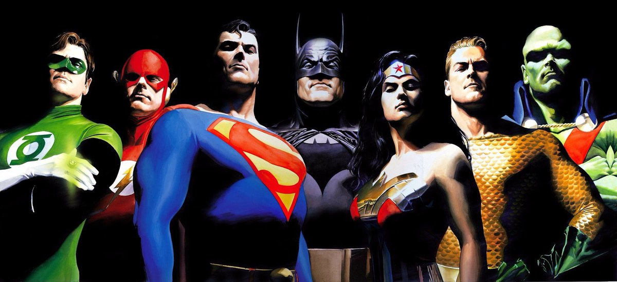 Green Lantern, Flash, Superman, Batman, Wonder Woman, Aquaman y Martian Manhunter en JLA: The Original Seven (2000). Arte por Alex Ross. Imagen: Alex Ross Twitter (@thealexrossart).