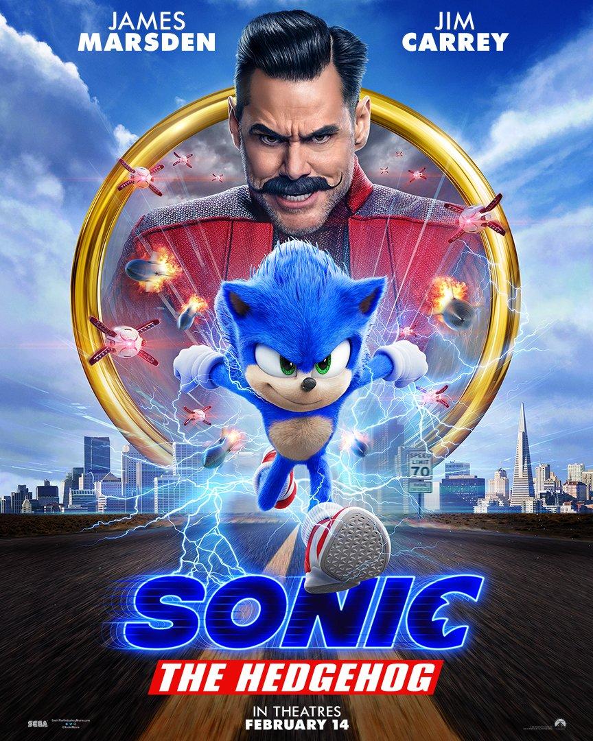 Póster de Sonic the Hedgehog (2020). Imagen: Sonic The Hedgehog Twitter (@SonicMovie).