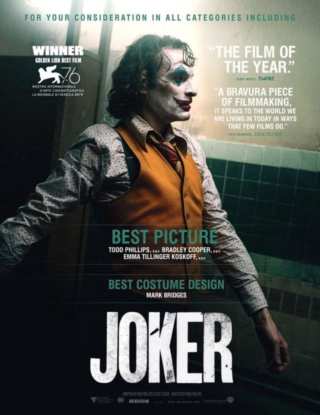 Joker (2019) a consideración para las entregas de premios. Imagen: Cosmic Book News