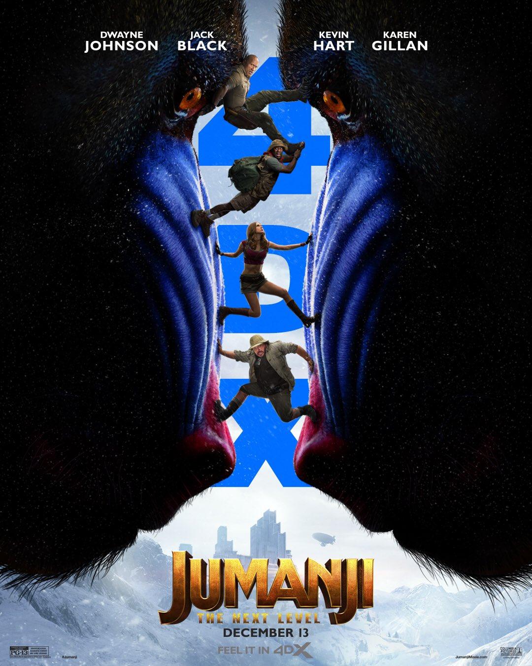 Póster 4DX de Jumanji: The Next Level (2019). Imagen: Jumanji: The Next Level Twitter (@jumanjimovie).