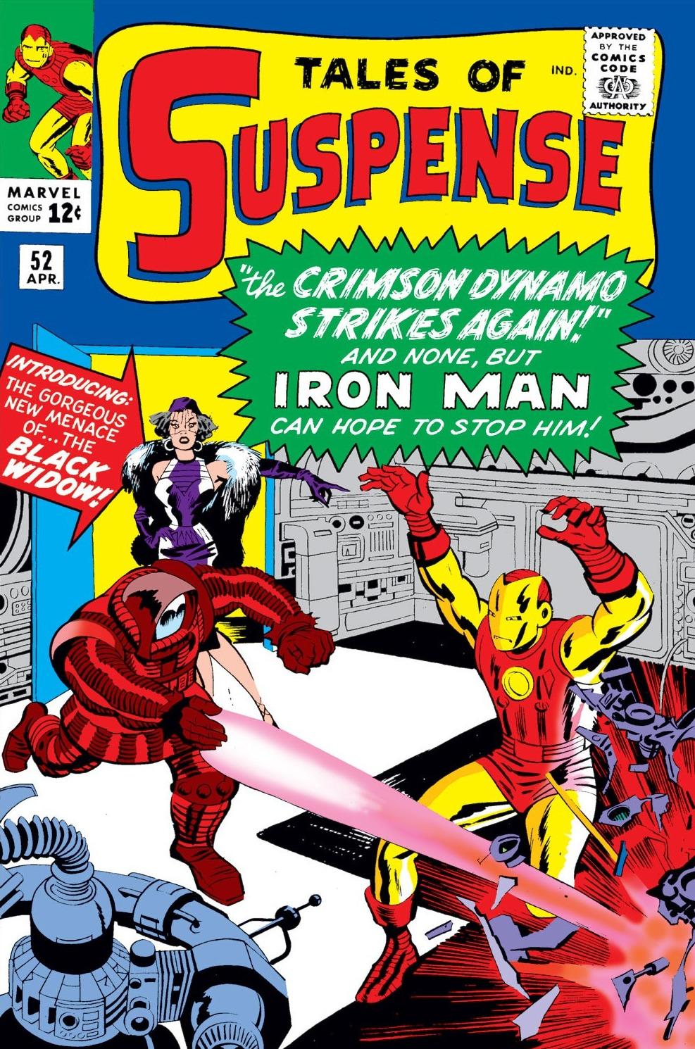 Portada de Tales of Suspense #52 (abril de 1964), la primera aparición de Black Widow/Natasha Romanoff. Imagen: marvel.fandom.com