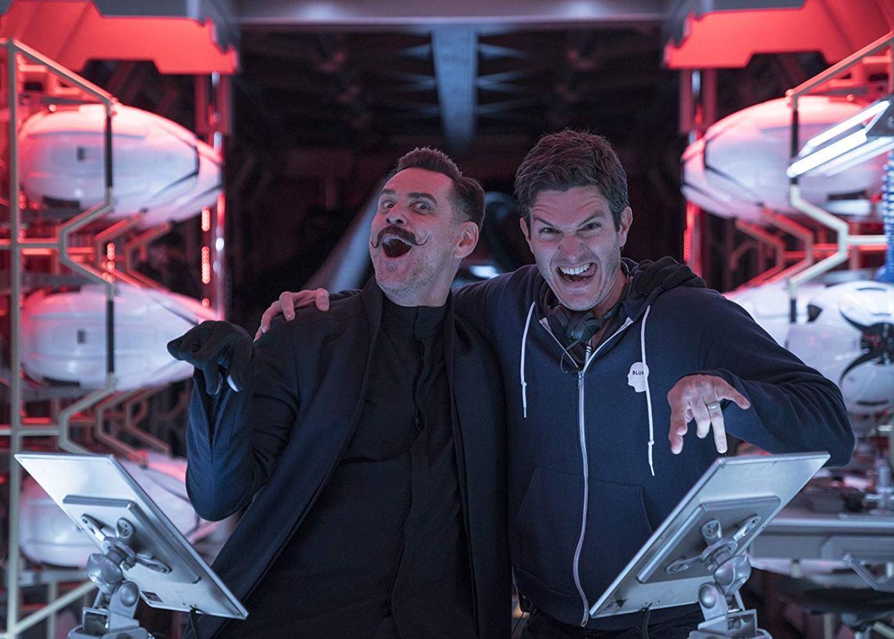 Jim Carrey como el Dr. Robotnik  y el director Jeff Fowler en el set de Sonic the Hedgehog (2020). Imagen: IMDb.com