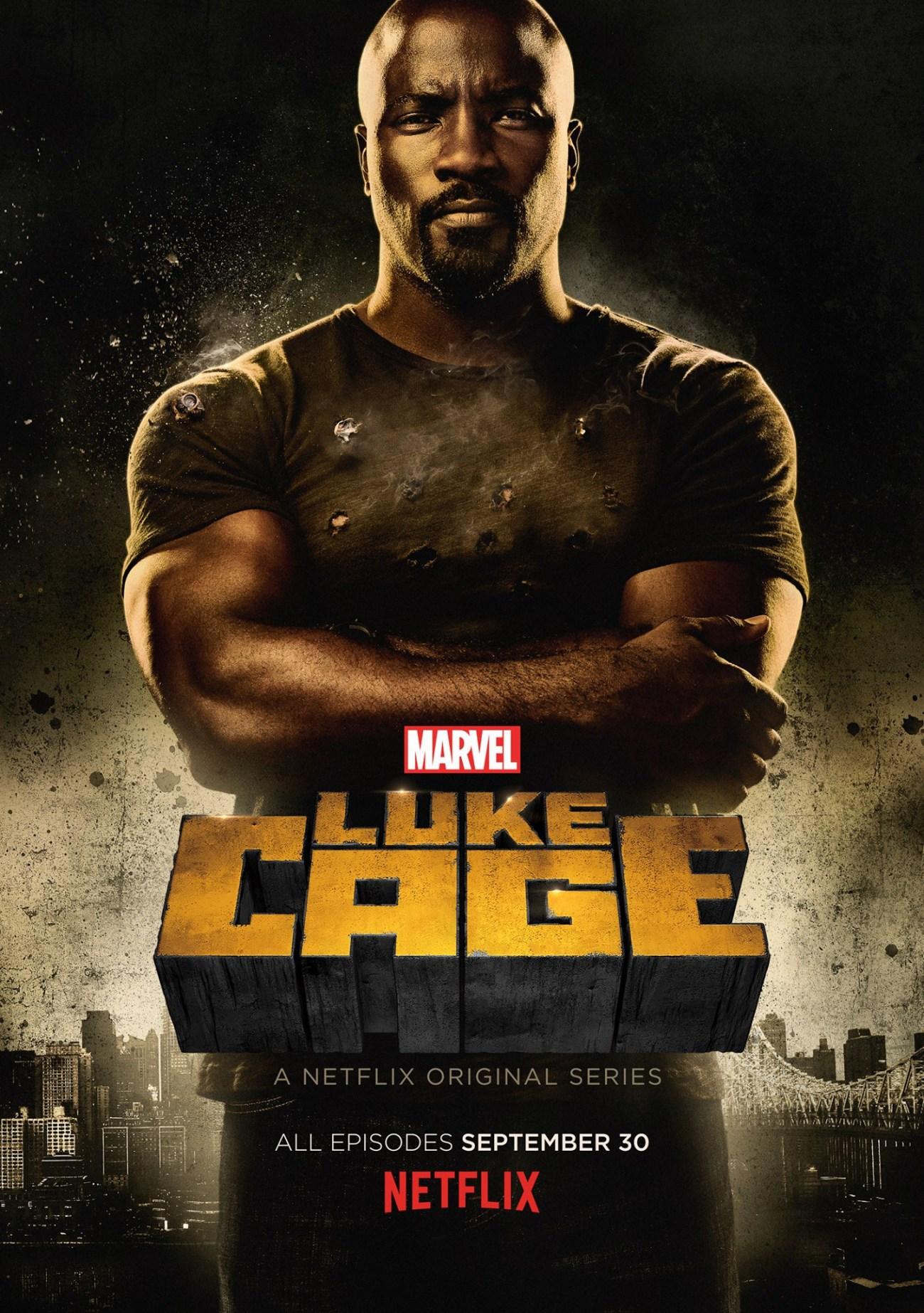 Mike Colter como Luke Cage en un póster de la temporada 1 de Luke Cage (2016-2018). Imagen: impawards.com