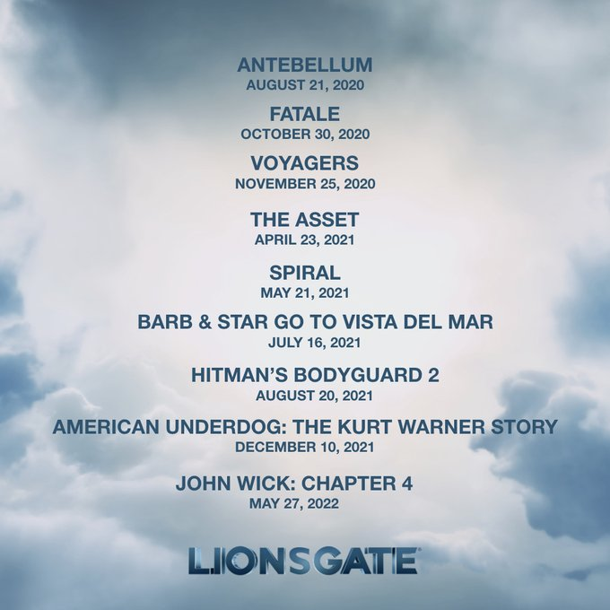 Las fechas de estreno para las películas de Lionsgate, incluyendo John Wick: Chapter 4 (2022). Imagen: Lionsgate Twitter (@Lionsgate).