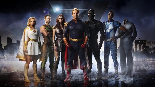 The Seven en la temporada 1 de The Boys: Starlight (Erin Moriarty), The Deeper (Chace Crawford), Queen Maeve (Dominique McElligott), Homelander (Antony Starr), Black Noir (Nathan Mitchell), A-Train (Jessie T. Usher) y Translucent (Alex Hassell). Imagen: IMDb.com