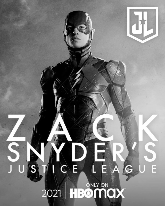Flash (Ezra Miller) en un póster del Snyder Cut de Justice League (2017). Imagen: sneakpeek.ca