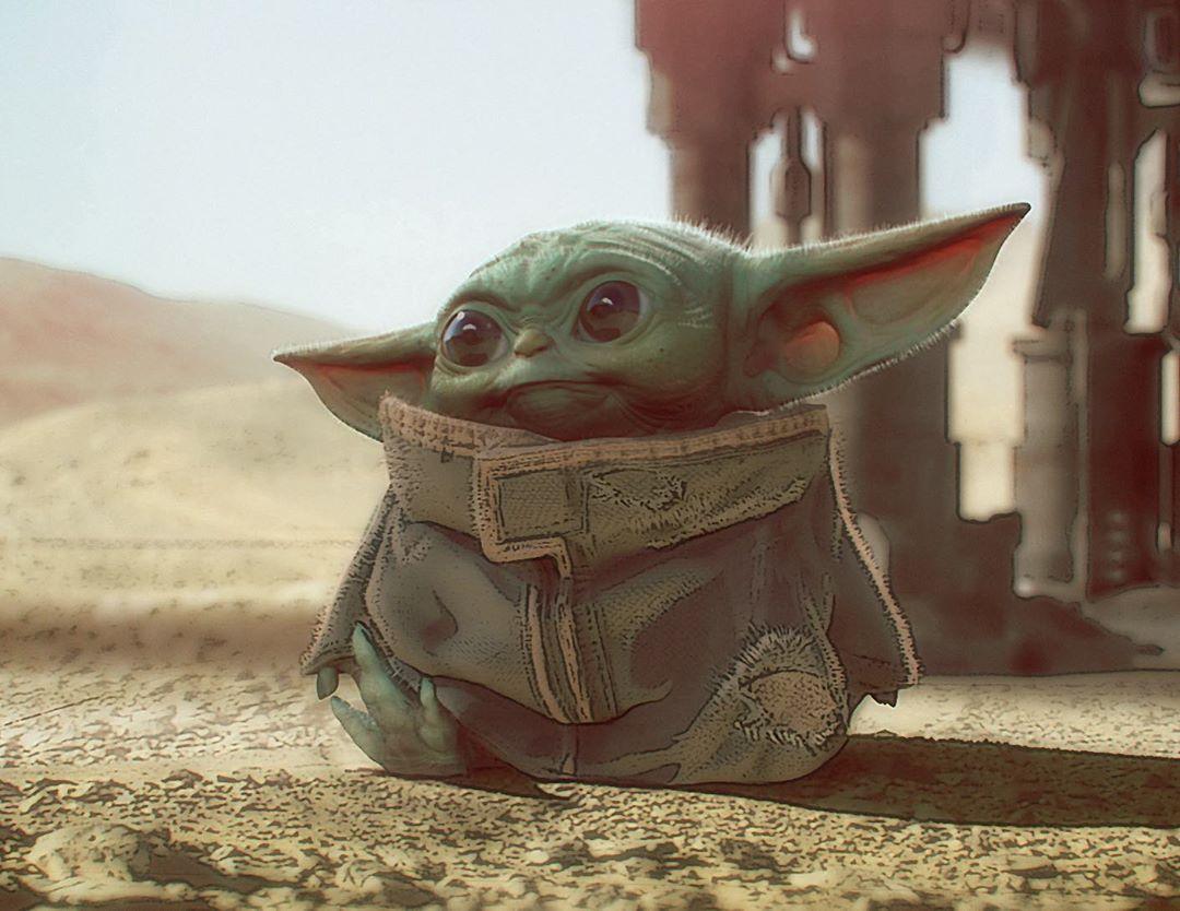 Arte conceptual de The Child (o Baby Yoda) en The Mandalorian. Imagen: Jon Favreau Instagram (@jonfavreau).