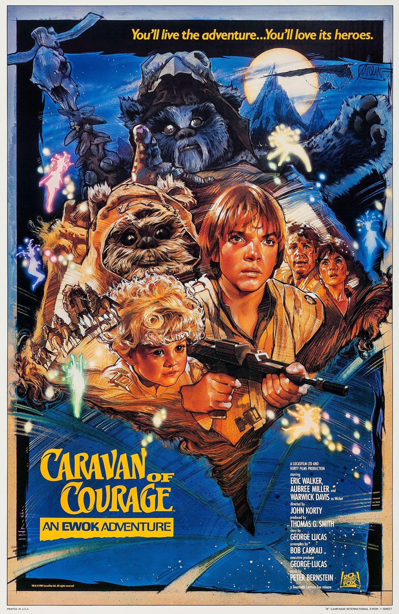 Póster de The Ewok Adventure o Caravan of Courage: An Ewok Adventure (1984). Arte por Drew Struzan. Imagen: pinterest.com