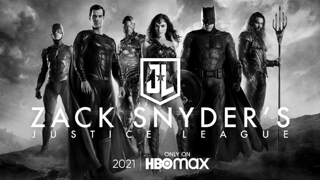 Flash (Ezra Miller), Superman (Henry Cavill), Cyborg (Ray Fisher), Wonder Woman (Gal Gadot), Batman (Ben Affleck) y Aquaman (Jason Momoa) en un anuncio del Snyder Cut de Justice League (2017) en HBO Max. Imagen: impawards.com