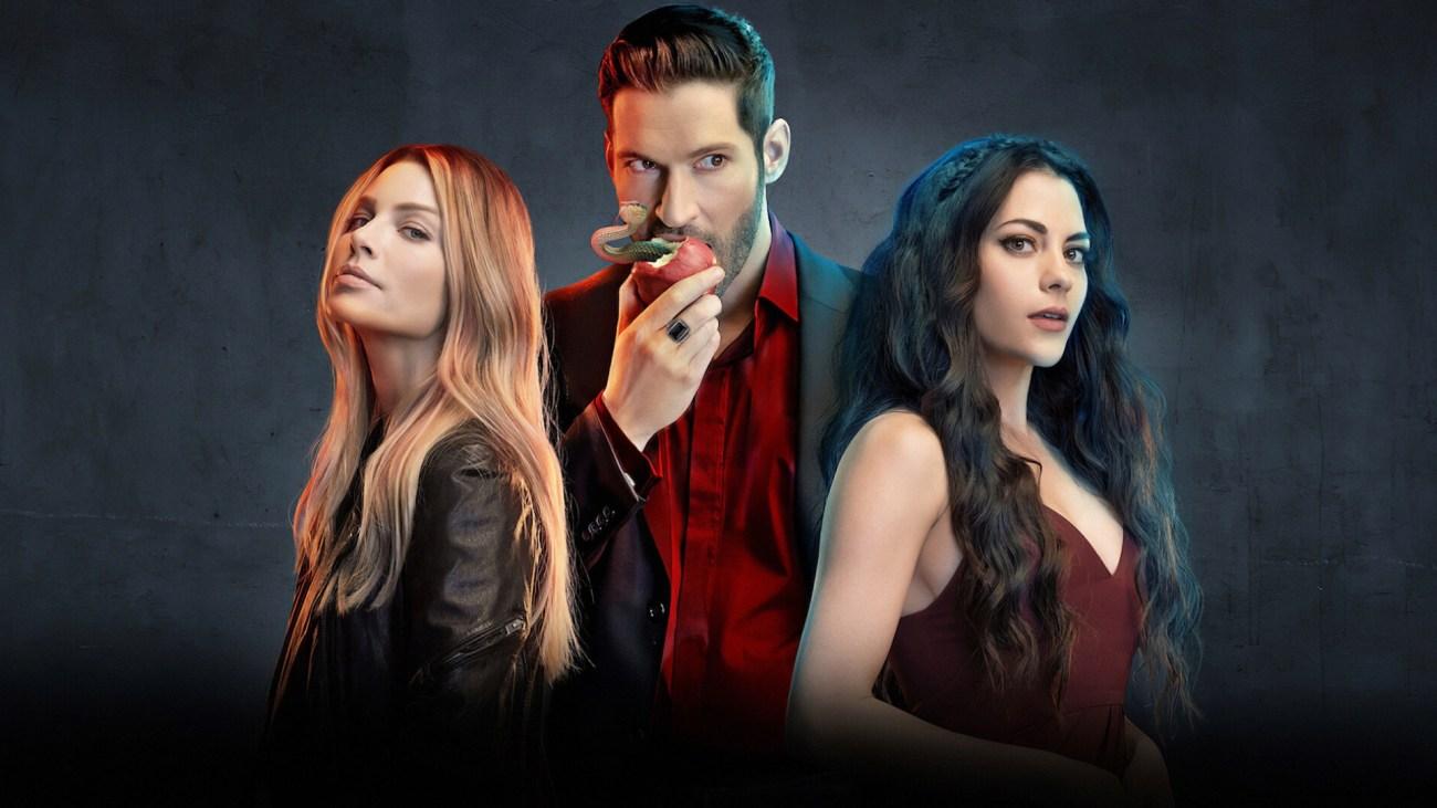 Lauren German como la Detective Chloe Decker, Tom Ellis como Lucifer Morningstar e Inbar Lavi como Eve en la temporada 4 de Lucifer. Imagen: fanart.tv
