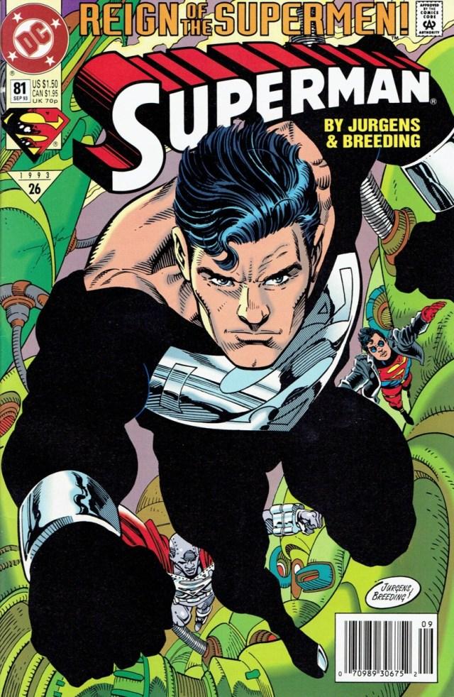 Portada de Superman #81 (septiembre de 1993), parte del arco argumental Reign of the Supermen! (junio-octubre de 1993). Imagen: Comic Vine